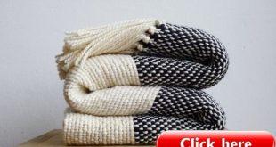 Couverture tricoté, Boho literie laine tissé throw, couverture confortable, noir et blanc canapé couverture par Texturabledecor