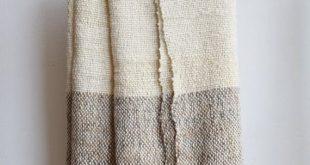 Raw wool striped blanket Grey & Ecru, Chunky knit blanket throw, Woven Organic Undyed wool sheep by TexturableDecor