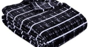 Berkshire Blanket & Home Co. Modern Stripe Velvety Plush Twin Blanket - Black