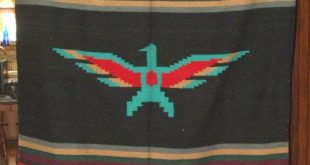 Details about Large 5'x7' Mexican Blanket Throw Thunderbird Black Center Earthtone Stripes