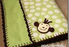 Fleece Blanket with Crochet Edge - monkey...this would make a cute car seat cove...