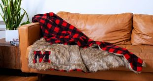DIY faux fur & buffalo plaid blanket how-to