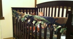 DIY teething guard for crib!! Strip of fleece cut strips like a no sew blanket