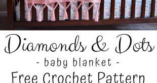 Diamanten und Punkte Babydecke häkeln Muster: Travelling Hook Creative