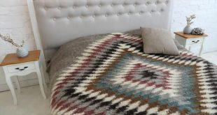 Large Bed Blanket Wool Blanket Rustic Woven Blanket Throw