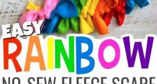 """Rainbow Dash"" Easy No Sew Fleece Scarf (Photo Tutorial)"