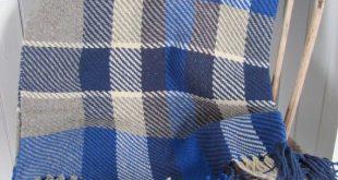 Plaid Wool Blanket Tartan Hand Woven Sofa Throw Blanket Blue Rustic Cabin Beach ...