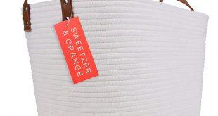 Amazon.com: Sweetzer & Orange Large Woven Cotton Rope Storage Basket (Vegan Leat...