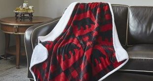 Buffalo Bear Red and Black Plaid Flannel Sherpa Throw Blanket