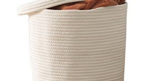 """Cotton Rope Storage Basket- Large Woven Baskets with Lid and Handles 15"""" x 13"""" 