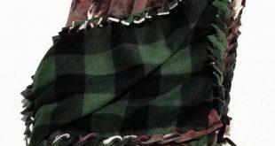 Deer Fleece No Sew Baby Blanket, Deer Green Plaid No Sew Car Seat DIY Baby Gift Fleece Blanket Kit,