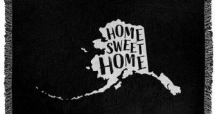 "East Urban Home Home Sweet Alaska Woven Blanket Size: 50"" W x 60"" L, Color: Black"