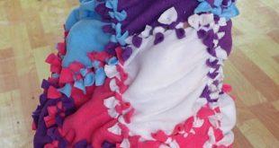 Patchwork No Sew Fleece Blanket Tutorial 2019 no sew fleece blanket :: homemad ...