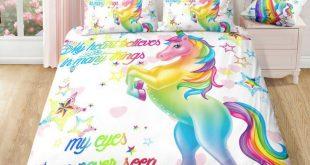 Rainbow Unicorn & White Stars Bedding Set  2019  The post Rainbow Unicorn & Whit...