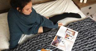 Chunky knit throw blanket, cozy bed throw blanket, chunky tube yarn blanket, gift for mom, christmas decoration, vegan gift, christmas gift