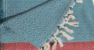 Blue Woven Blanket Handloomed Throw Blanket Personalized Blankets Large Sofa Throw Personalized Gifts Navy Summer Blanket