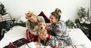 Buffalo Plaid blankets, cozy pajamas, and a puppy!