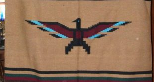 Details about Mexican Blanket Throw Thunderbird BLUE Center Woven BIG 5'x7' size