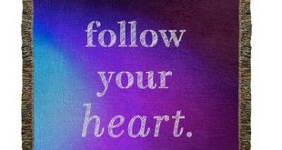 "East Urban Home Multicolor Background Follow Your Heart Quote Woven Blanket Size: 80"" L x 60"" W, Color: Blue/Purple"