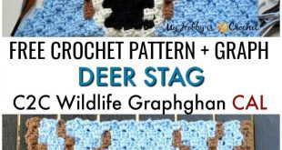 "Free Crochet Pattern + Graph: ""Deer Stag"" C2C Square - Wildlife Graphghan CAL Block 8"