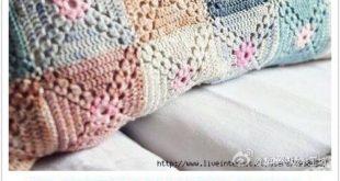 Häkeln Sie Oma quadratische Babydecke Kissen Kissen afghanischen Wurfdecke Sour...