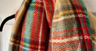 Large Blanket Scarf In Tan, Red & Green Plaid Large Blanket Scarf In Tan, Red & ...