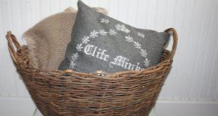 Large Woven Twig Basket with Handles Dark Brown Blanket or Storage Oval Basket  ...