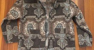 Mens Ecologico Wool Full Zip AZTEC Blanket Woven Pattern Jacket Size Large #fa ...