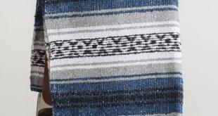 Mexican Blanket Blue & Grey Yoga Blanket Hand Woven Sarape Aztec Throw Falsa 2...