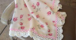 Nursery Blanket Fleece Blanket Crocheted Blanket Baby Blanket Blanket with Roses...