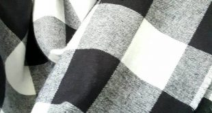 Plaid flannel blanket scarf, large plaid cotton flannel blanket scarf, black and white buffalo plaid