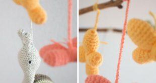 Schnecke, Schildkröte und Schmetterling: Baby-Mobile häkeln