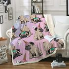 Sleepwish Puppy Pug Fuzzy Reversible Blanket Cute Unicorn Pink Sherpa Fleece Ice...