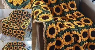 Super Sonnenblumenquadrat Afghan von Crafty Kitty Crochet